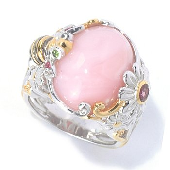 126-008 - Gems en Vogue II 16 x 12mm Opal & Multi Gemstone Daisy & Bee Ring