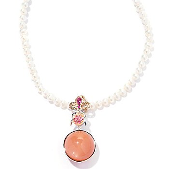 126-009 - Gems en Vogue II Peach Moonstone & Multi Gemstone Enhancer w/ 18'' Pearl Necklace