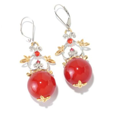 "126-011 - Gems en Vogue II 16mm Carnelian, Orange Fire Opal & Sapphire 2"" Drop Earrings"