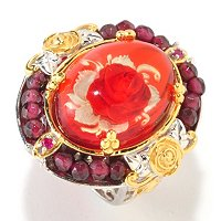 SS/PALL RING HAND-CARVED TWO-TONE ROSE AMBER INTAGLIO & MULTI GEM