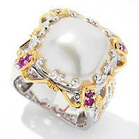 SS/PALL RING CUSHION MABE CULTURED PEARL & PINK SAPH