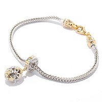 "SS/PALL BRAC WHEAT CHAIN w/ TWIST-OFF CLASP+DROP CHARM ""STARTER BRACELET"""