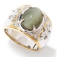 MEN'S - SS/PALL RING CAT'S EYE OPAL & WHT SAPH