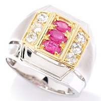 MEN'S - SS/PALL RING RUBY & WHT TOPAZ