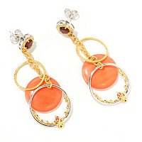 SS/PALL EAR MULTI CIRCLE & CORAL DROP