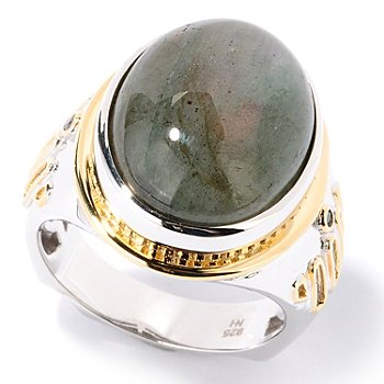 126-032 - Men's en Vogue II 15.89ctw Green Labradorite & Black Diamond Ring