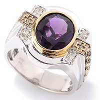 MEN'S - SS/PALL RING AFRICAN AMETHYST & WHT SAPH MALTESE CROSS DETAIL