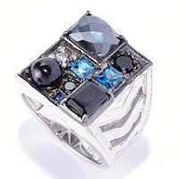 MEN'S - SS/PALL RING MULTI-GEMSTONE MANHATTAN