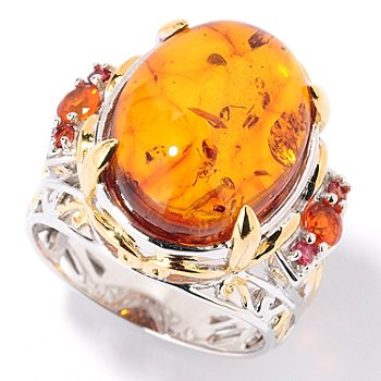 126-044 - Gems en Vogue II 16mm x 12mm Baltic Amber & Fire Opal Ring