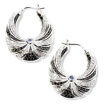 126-058 - Diamond Treasures Sterling Silver 1.05ctw Diamond & Tanzanite U-Shaped Earrings
