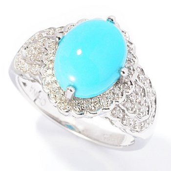 126-060 - Gem Insider Sterling Silver 10 x 8mm Sleeping Beauty Turquoise & Diamond Oval Ring