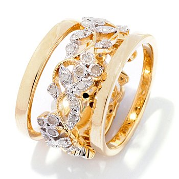 126-066 - Diamond Treasures 14K Gold 0.50ctw Diamond Flower Band Stack Ring