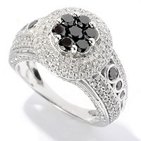 SS BLACK DIAMOND ROUND RING W/ WHITE DIAMOND ACCENTS