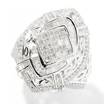 126-081 - Diamond Treasures Sterling Silver 1.40ctw Marquise Shaped Diamond Ring