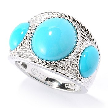 126-082 - Gem Insider Sterling Silver Sleeping Beauty Turquoise Three-Stone Ring