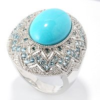 SS SLEEPING BEAUTY TURQ OVAL RING W BLUE DIAMOND & SWISS BLUE TOPAZ