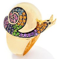 SS/P RING MULTI-GEMSTONE SNAIL
