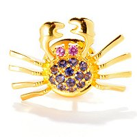 SS/P PIN BLUE TOPAZ & RHODOLITE BLUE CRAB SCATTER PIN