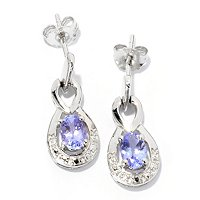 SS OVAL TANZANITE EARRINGS