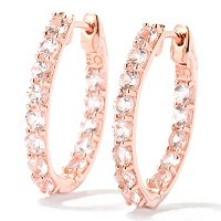 SS/18KV EAR MORGANITE INSIDE-OUT HOOP w/ CLICKER BACK