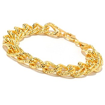 126-117 - Scintilloro[ Gold Embraced[ 8'' Diamond Cut Double Curb Link Bracelet