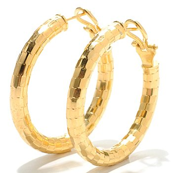 126-121 - Scintilloro[ Gold Embraced[ Mosaic Diamond Cut Hoop Earrings w/ Omega Backs