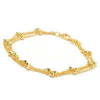 SS/18KGP ANKLET 3-STRAND DIAMOND-CUT STATION