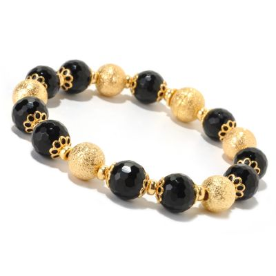 "126-124 - Scintilloro™ Gold Embraced™ 8"" 71.60ctw Black Onyx & Diamond Cut Bead Bracelet"