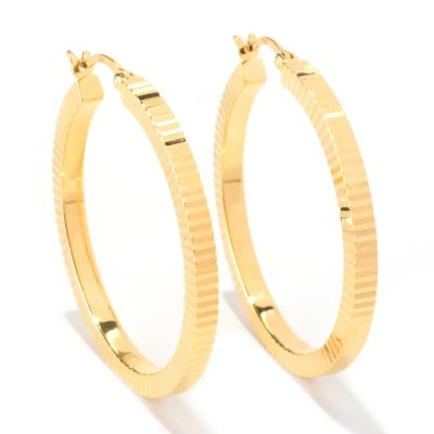 126-126 - Scintilloro™ Gold Embraced™ Diamond-Cut Square Edge Hoop Earrings