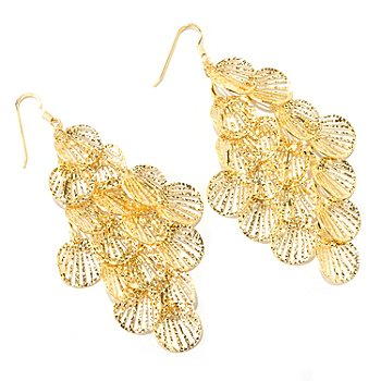 126-127 - Scintilloro™ Gold Embraced™ Layered Disk Chandelier Earrings