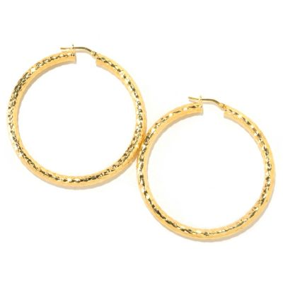 "126-128 - Scintilloro™ Gold Embraced™ 2"" Diamond Cut Runway Hoop Earrings"