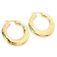 SS/18KGP EAR DIA-CUT ACCENT HIGH-POLISHED GRADUATED HOOP