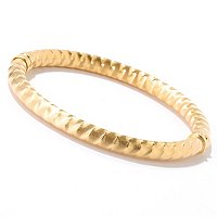 SS/18KGP BRAC DIA-CUT ZIG-ZAG HINGED BANGLE