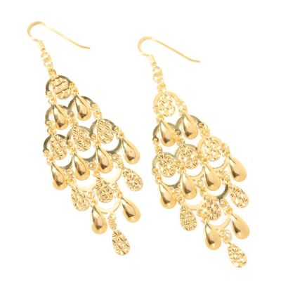 126-132 - Scintilloro™ Gold Embraced; Multi-Teardrop Chandelier Earrings
