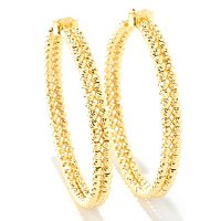 SS/18KGP EAR DIAMOND-CUT DOUBLE BEAD HOOP