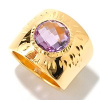 SS/18KGP RING FACETED GEM & DIA-CUT CIGAR BAND