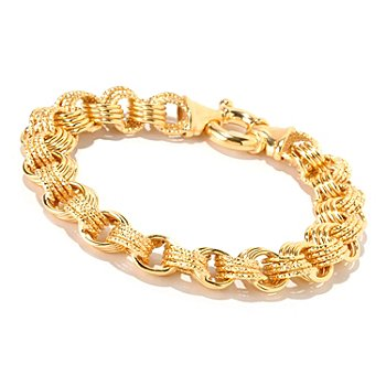 126-141 - Scintilloro™ Gold Embraced™ 8.5'' Polished Multi-Rolo Link Bracelet