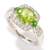SS 7MM CUSHION PERIDOT RING WITH CHROME ACCENTS