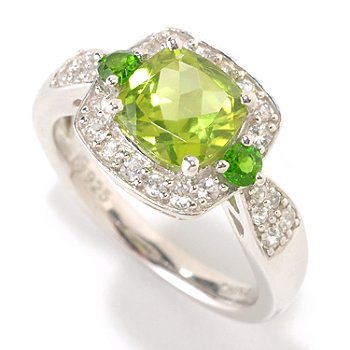 126-145 - Gem Insider 1.62ctw Cushion Cut Peridot & White Sapphire Square Ring