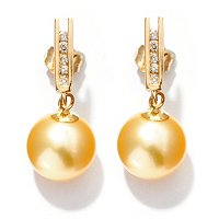 14K YG 9-10mm ROUND GOLDEN SOUTH SEA PEARL & DIAMOND EARRINGS