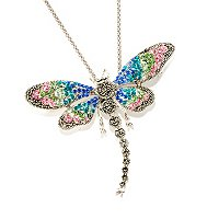 SS PIN PEND MACASITE DRAGON FLY WITH CRYSTALS W/ CHAIN