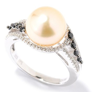 126-158 - Sterling Silver 10-11mm Semi-Round Golden South Sea Cultured Pearl & Gem Ring