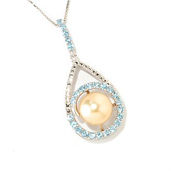 126-160 - Sterling Silver 10-11mm Semi-Round Golden South Sea Cultured Pearl & Gem Pendant