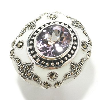 126-161 - Dallas Prince Sterling Silver Amethyst Ring Made w/ Swarovski® Marcasite