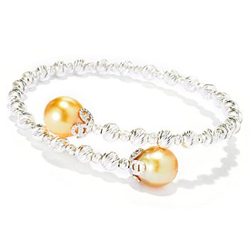 126-162 - Sterling Silver 9-10mm Golden South Sea Cultured Pearl Sparkle Bead Bypass Bracelet