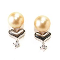 SS 9-10mm ROUND GOLDEN SOUTH SEA, BLACK MOP HEART & WHITE TOPAZ EARRINGS