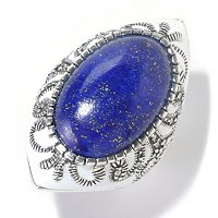 SS OVAL LAPIS RING WITH SCROLL MARCASITE
