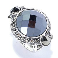 SS ROUND HEMATITE WITH MARCASITE SIDE RING