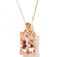 14K RG MORGANITE AND DIAMOND CUSHION CUT PENDANT