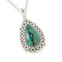 SS TEAR DROP CHRYSCOLIA PEND W/CHAIN